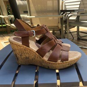 Leather Cork Sandal Wedges